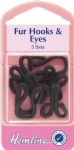 H402.B Fur Hooks and Eyes: Black - Size 3